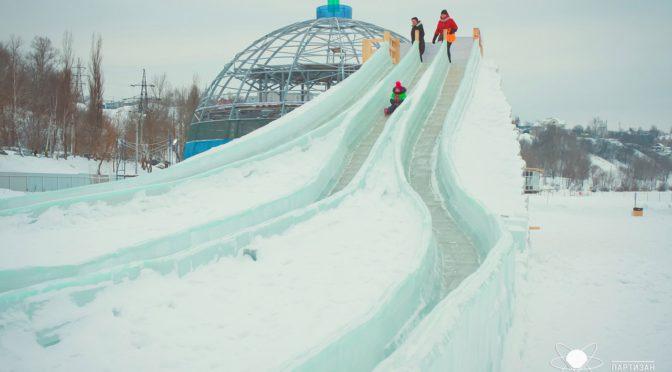 Космический ледяной городок в Калуге и выставка ледяных скульптур